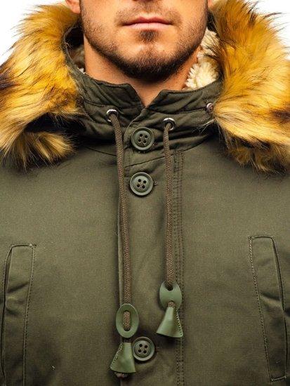 Kurtka męska zimowa parka khaki Denley 88709