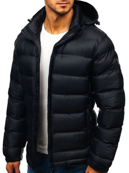 Kurtka męska zimowa sportowa pikowana czarna Denley AB63