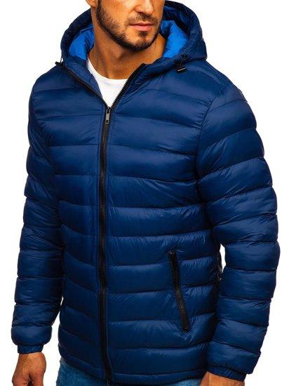 Kurtka męska zimowa sportowa pikowana granatowa Denley JP1101