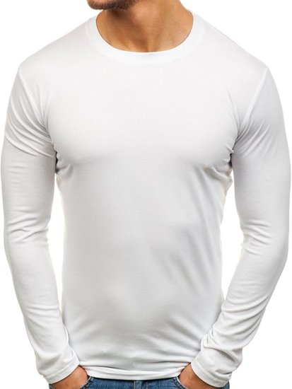 Longsleeve męski bez nadruku biały Denley 135