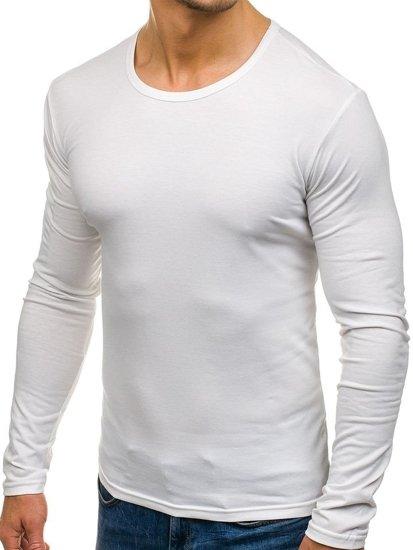 Longsleeve męski bez nadruku biały Denley 2099L