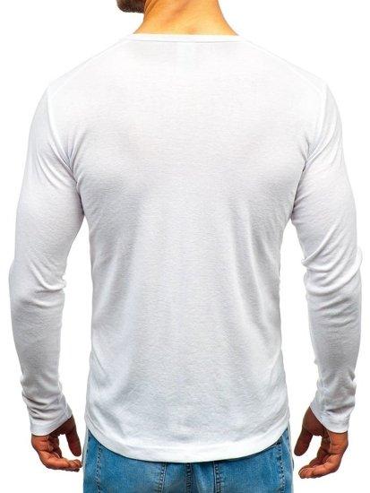 Longsleeve męski bez nadruku biały Denley C10046