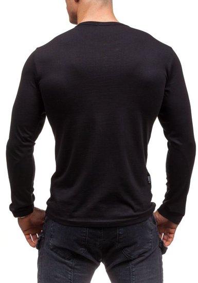 Longsleeve męski bez nadruku czarny Denley 6161