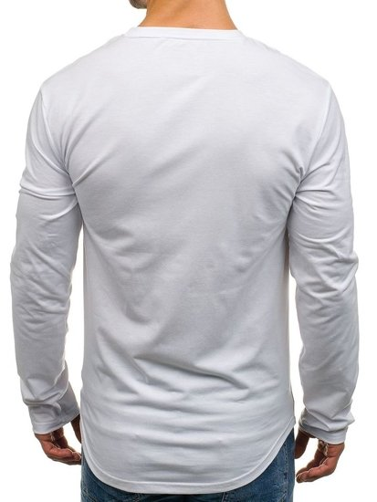 Longsleeve męski z nadrukiem biały Denley SX03