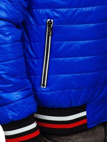 Niebieska pikowana przejściowa kurtka męska bomberka z kapturem Denley 6192