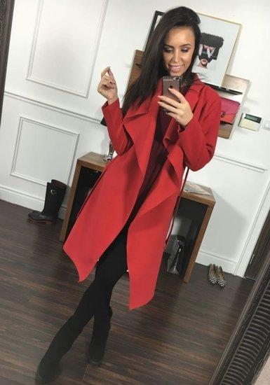 Płaszcz długi damski czerwony Denley 1729