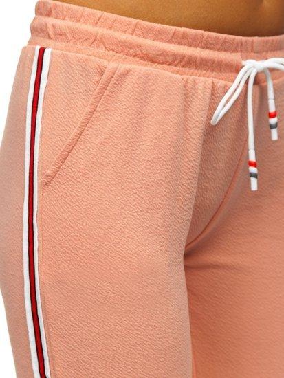Różowe spodnie dresowe damskie Denley YW01020A