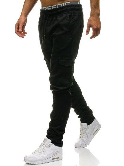 Spodnie bojówki męskie czarne Denley 0857