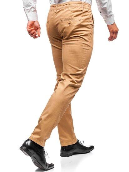 Spodnie chinosy męskie camelowe Denley 2901