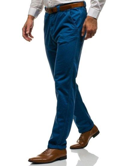Spodnie chinosy męskie niebieskie Denley 6191