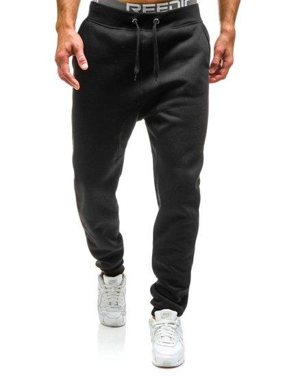 Spodnie dresowe baggy męskie czarne Denley x065