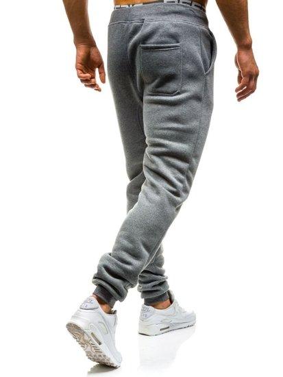 Spodnie dresowe baggy męskie szare Denley x065