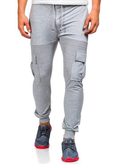 Spodnie dresowe bojówki męskie szare Denley 0485