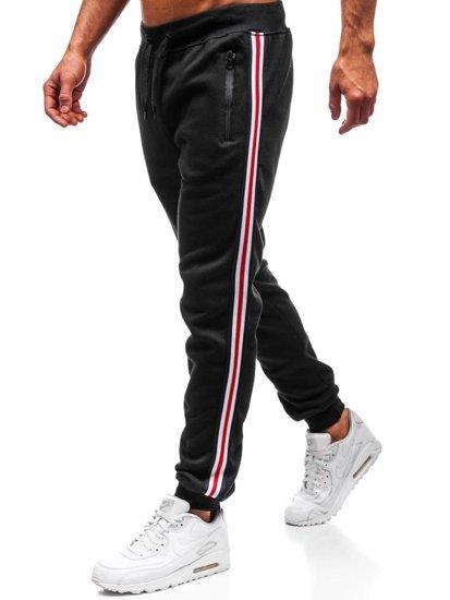 Spodnie dresowe joggery męskie czarne Denley KZ03