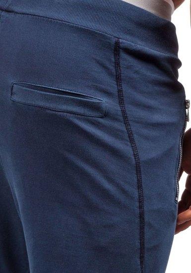 Spodnie dresowe joggery męskie granatowe Denley 1896