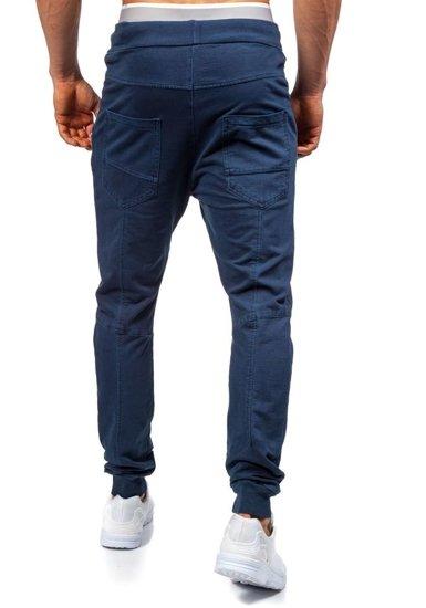 Spodnie dresowe joggery męskie granatowe Denley 2652