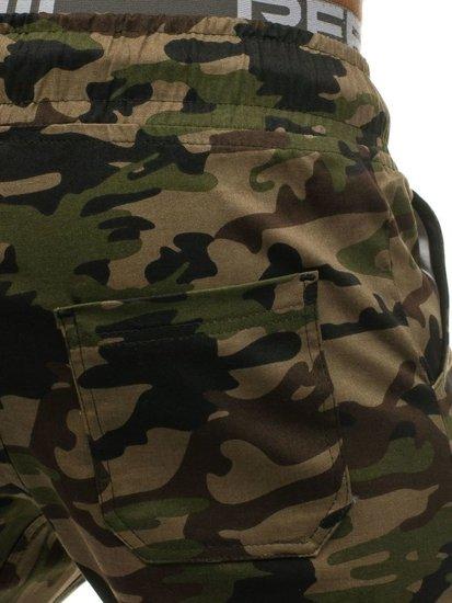 Spodnie dresowe joggery męskie moro-khaki Denley 0367
