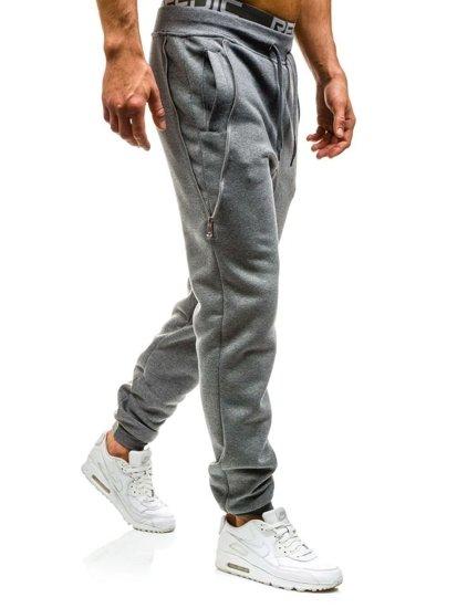 Spodnie dresowe joggery męskie szare Denley x060