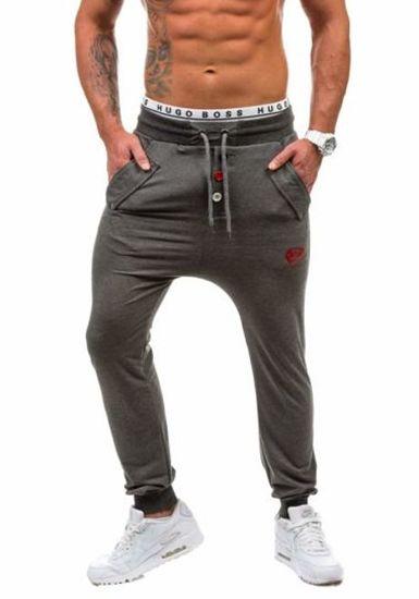 Spodnie dresowe męskie antracytowe Denley 0423
