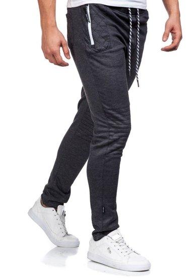 Spodnie dresowe męskie antracytowo-białe Denley 3740