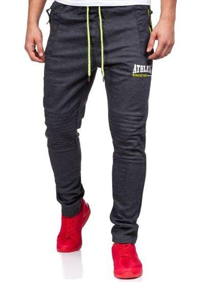 Spodnie dresowe męskie antracytowo-seledynowe Denley 3740