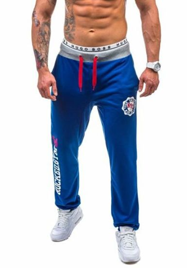 Spodnie dresowe męskie chabrowe Denley 1044
