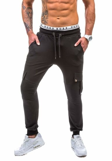 Spodnie dresowe męskie czarne Denley 0444