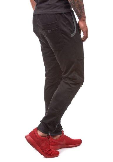 Spodnie dresowe męskie czarne Denley 0469