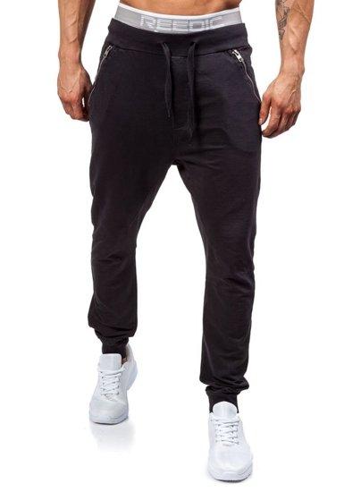 Spodnie dresowe męskie czarne Denley 2652