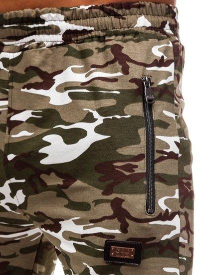 Spodnie dresowe męskie moro-zielone Denley 170
