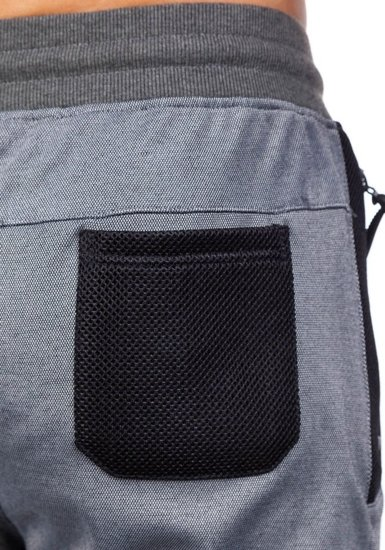Spodnie dresowe męskie szaro-czarne Denley 3741