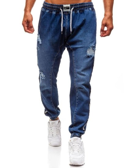 Spodnie jeansowe baggy męskie granatowe Denley 2045