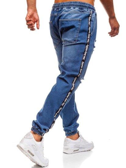 Spodnie jeansowe baggy męskie niebieskie Denley 2045