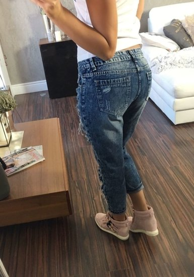 Spodnie jeansowe damskie granatowe Denley 5127