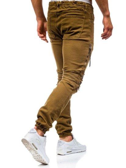 Spodnie jeansowe joggery męskie brązowe Denley 457