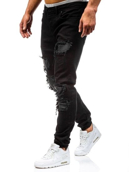 Spodnie jeansowe joggery męskie czarne Denley 820