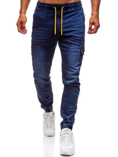 Spodnie jeansowe joggery męskie granatowe Denley Y272A