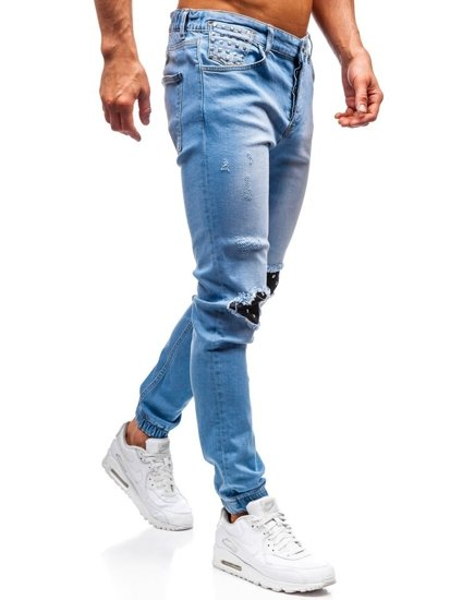 Spodnie jeansowe joggery męskie jasnoniebieskie Denley 2044-1