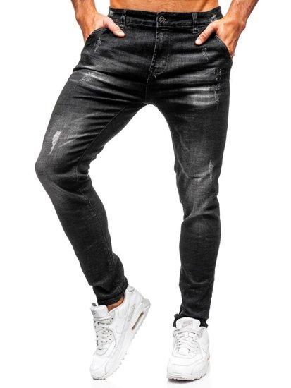 Spodnie jeansowe męskie slim fit czarne Denley KX172