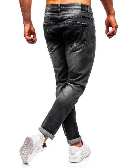Spodnie jeansowe męskie slim fit czarne Denley KX312