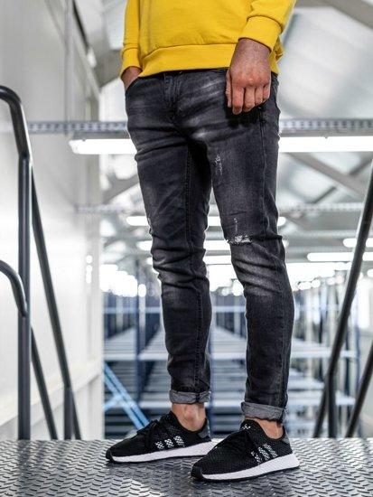 Spodnie jeansowe męskie slim fit czarne Denley KX320