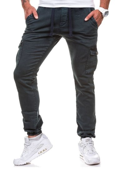 Spodnie joggery bojówki męskie atramentowe Denley 813