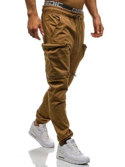 Spodnie joggery bojówki męskie camelowe Denley 0475