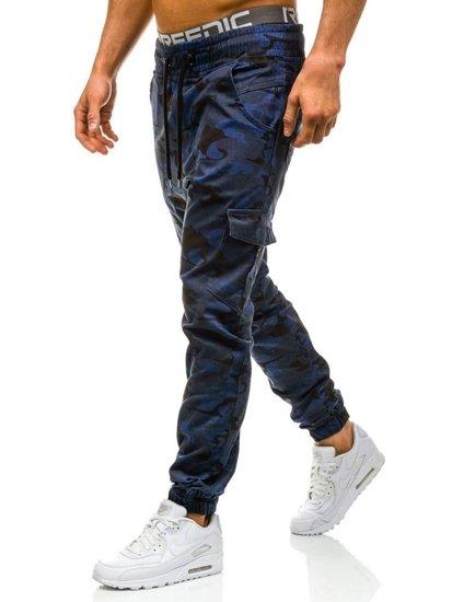 Spodnie joggery bojówki męskie moro-granatowe Denley 0404