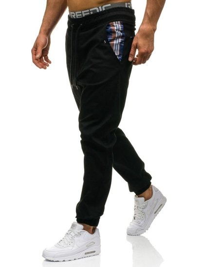 Spodnie joggery męskie czarne Denley 0449