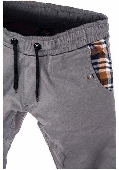 Spodnie joggery męskie szare Denley 0449