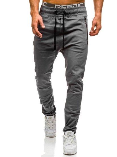 Spodnie joggery męskie szare Denley 0803
