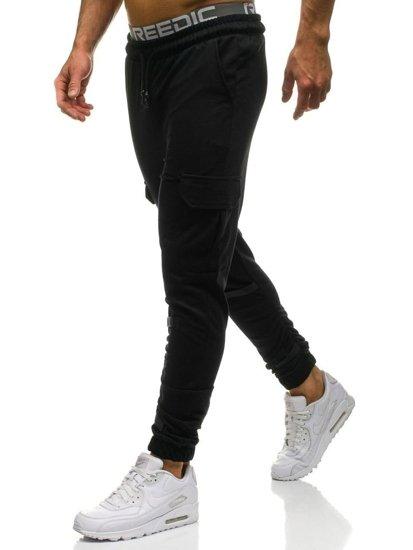 Spodnie męskie dresowe czarne Denley 2005