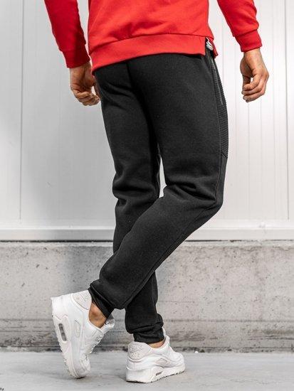 Spodnie męskie dresowe czarne Denley JX8970
