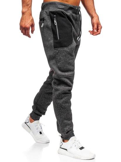 Spodnie męskie dresowe czarne Denley TC841
